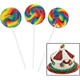 38 Piece Bulk Pack Mini Round Colorful Rainbow Swirl Lollipop Suckers Candy Kids Party Favor Supplies Decor for Carnivals Circus Birthday Bridal Shower Baby Wedding Reception Buffet