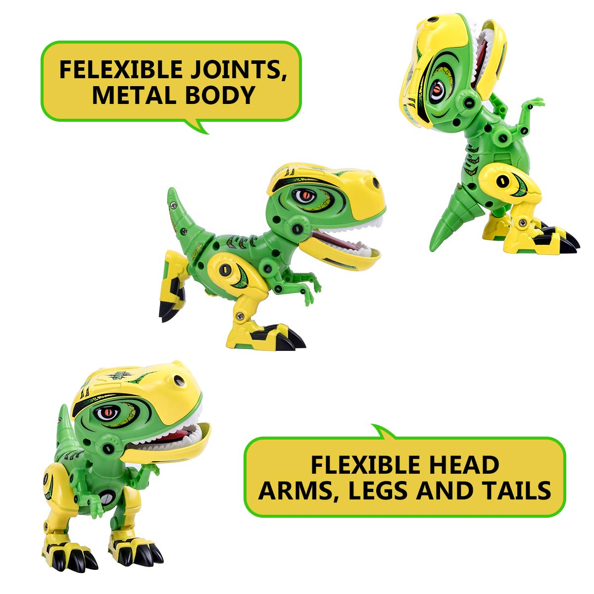GILOBABY Dinosaur Toys for Kids, Alloy Metal Mini Tyrannosaurus Rex Dinosaur with Shine Eyes and Roaring Sound, Flexible Body, Gift for Toddlers Boys Girls (Green) by GILOBABY (Image #3)