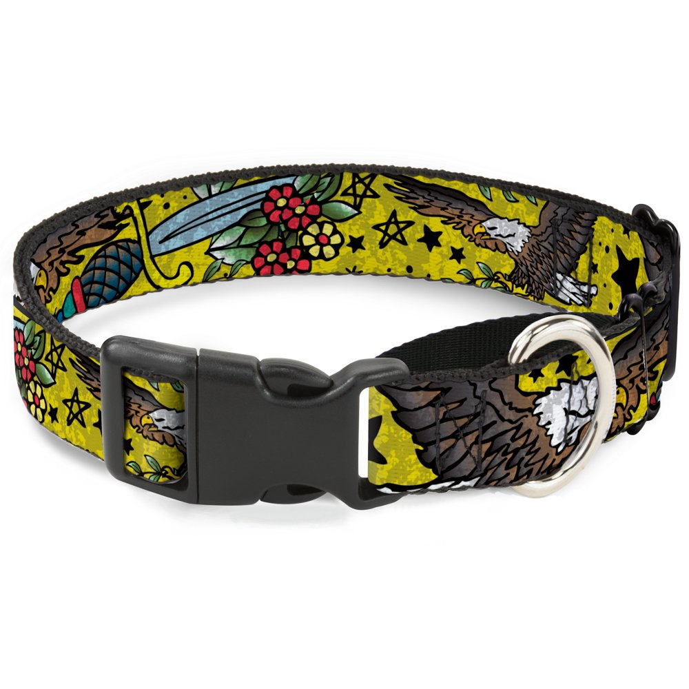 Buckle-Down MGC-W32015-M Yellow Martingale Dog Collar, 1  Wide-Fits 11-17  Neck-Medium