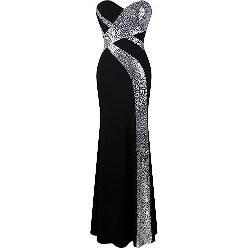 Angel-fashions Womens Strapless Evening Dress Splicing Vintage