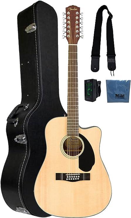 Fender CD-60 12 cuerdas guitarra acústica w/caso y accesorios ...