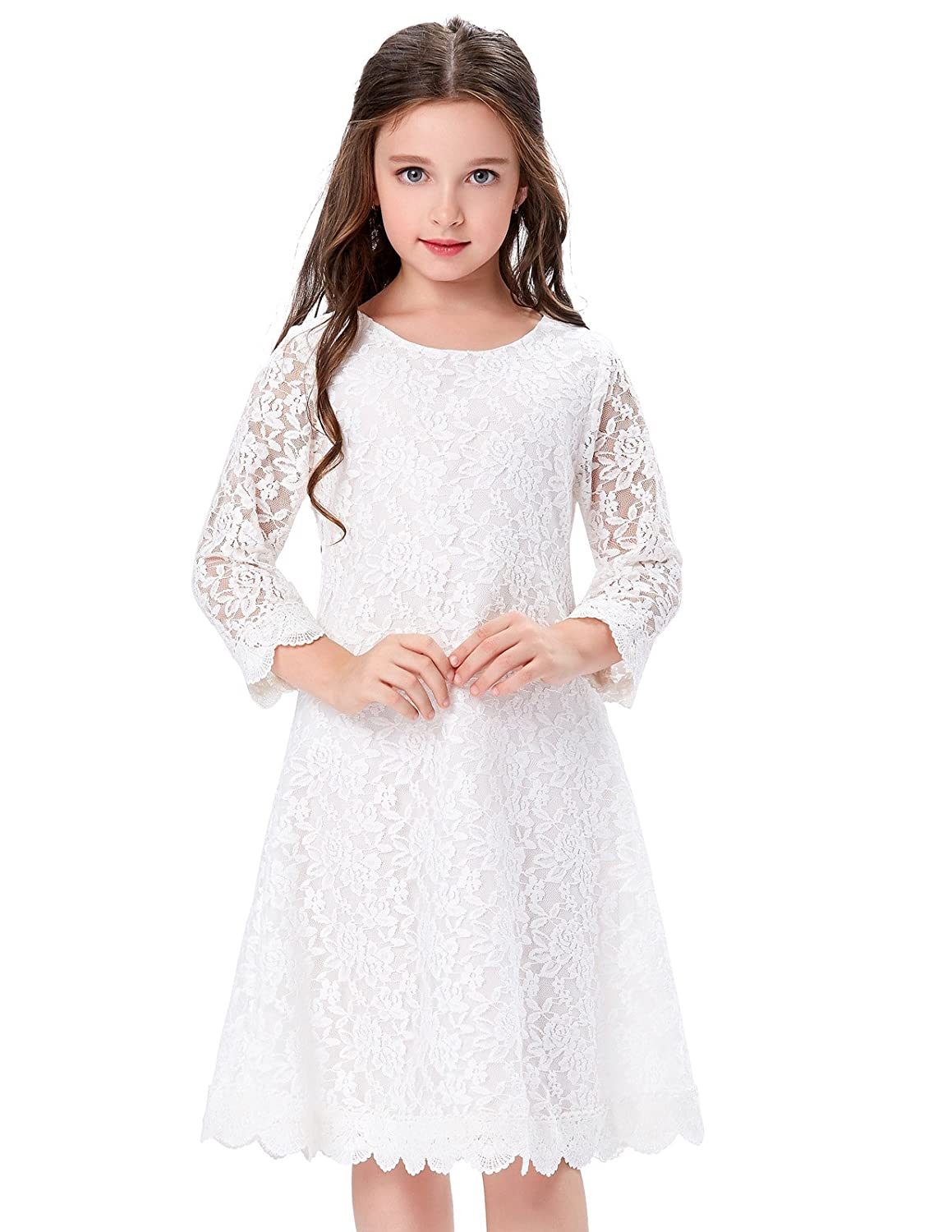 8dd86fb260f Amazon.com  GRACE KARIN Girls Shift Flower Lace Dresses with Sleeves   Clothing