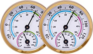 LayscoPro Mini Indoor Thermometer Hygrometer Analog 2 in 1 Temperature Humidity Monitor Gauge for Home, Room, Outdoor, Offices, Display Mechanical Diameter 57mm-2 Pack (No Battery Needed)- Gold