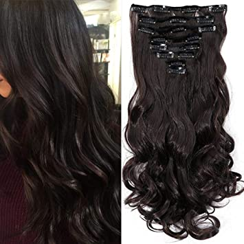 17 Clip In Brown Hair Extensions Curly Hair Piece 8 Pcs Full Head