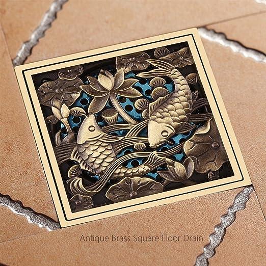 Fdit Ottone antico quadrato scarico a pavimento con filtro vasca Ground scolapiatti lavello rubinetti per bagno o cucina
