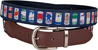 product image for Beer Cans Leather Tab Belt by Belted Cow Company - Made in Maine