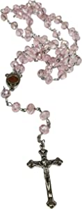 LION OF JUDAH MARKET Catholic Light Pink 10mm Crystal Beads Rosary Holy Soil Medal & Silver Crucifix