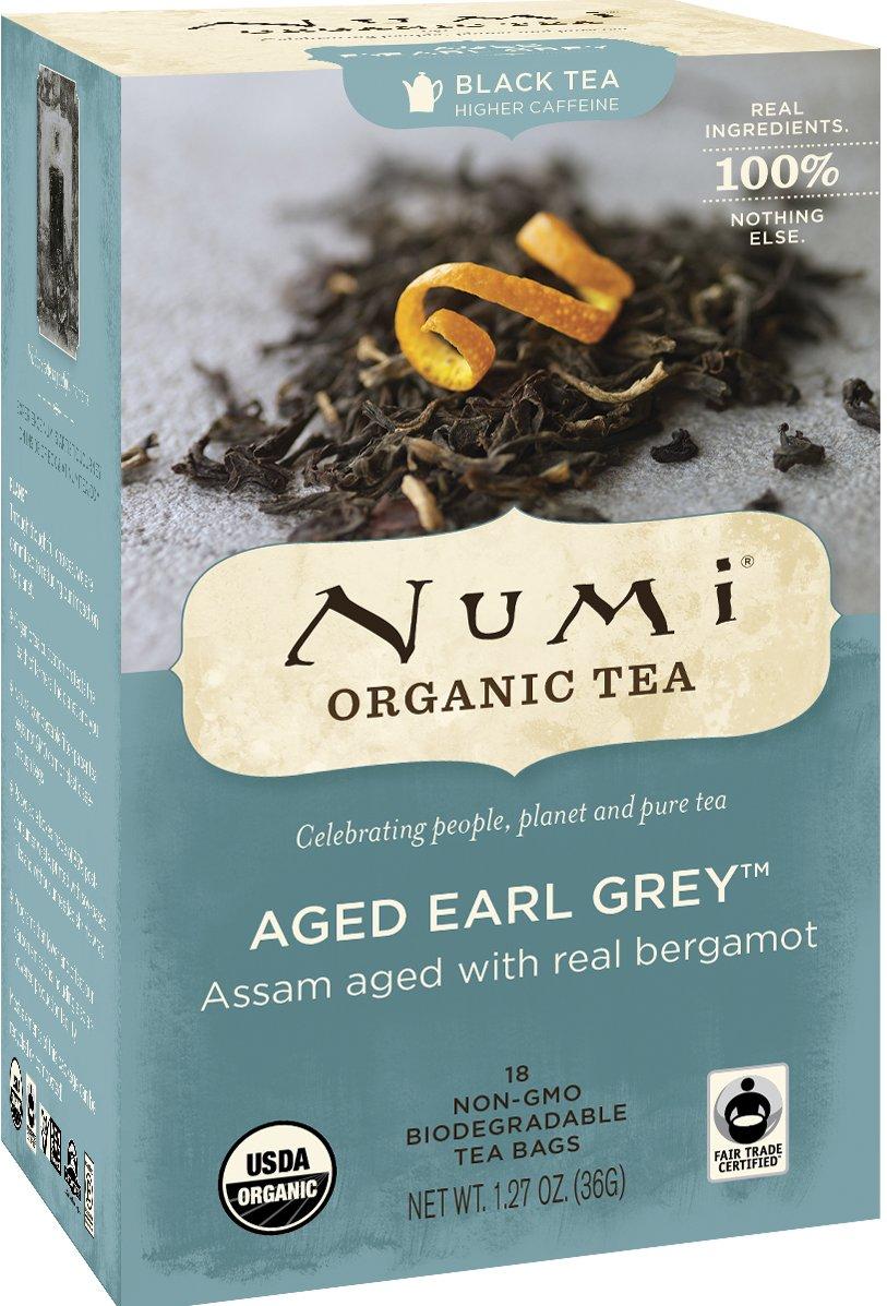 Numi Organic Tea Aged Earl Grey, 18 Count Box of Tea Bags (Pack of 6), Black Tea