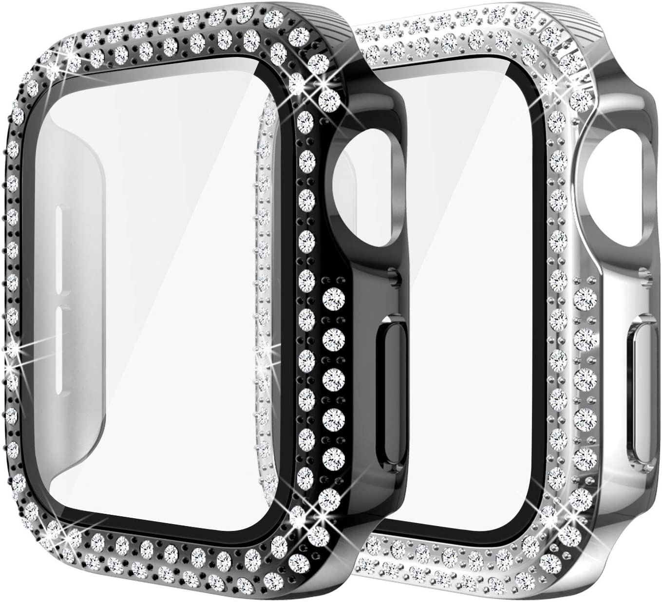 Yolovie (2-Pack) Compatible for Apple Watch Case with Screen Protector 44mm Series 6/5/4/SE, Bling Cover Diamonds Rhinestone Bumper Protective Frame for iWatch Girl Women (Black/Silver)