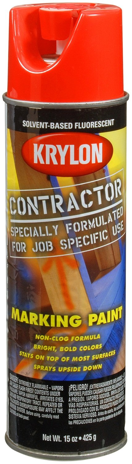 Krylon K07309000 Solvent-Based Contractor Marking Paint,  Fluorescent Safety Red, 15 Ounce by Krylon (Image #4)