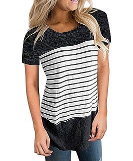 Amazon.com: cnfio para mujer blusas camisas de rayas manga ...