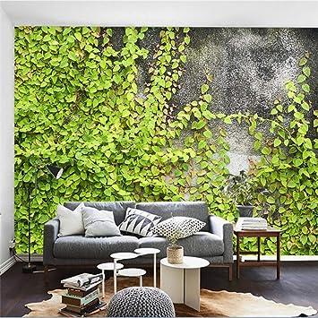 Amazhen Papier Peint Personnalise Mur De Beton Mur Vegetal Fond De