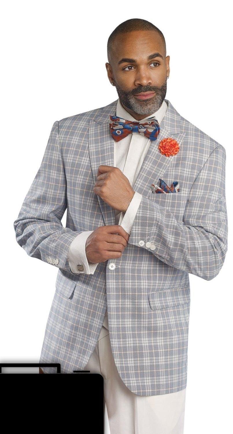 EJ Samuel Fine 3 Piece Mens Gray Plaid 1920s Fashion Suit M2680 Plaidsuit(48 L)