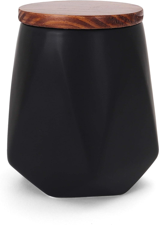 Belari Faceted Storage Canister - Food Storage Container for Kitchen Organization - Ceramic Kitchen Storage Containers - Kitchen Canisters - Kitchen Counter Organizers and Storage (Medium, Black)
