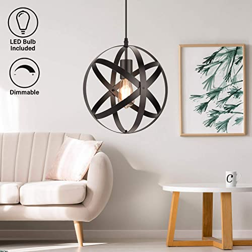 Industrial Metal Pendant Light, 11.8 Farmhouse Hanging Light Fixtures, Adjustable Chandelier Ceiling Lamp, Spherical Pendant Lighting for Kitchen Island Dining Room, LED Bulb Included, Matte Black