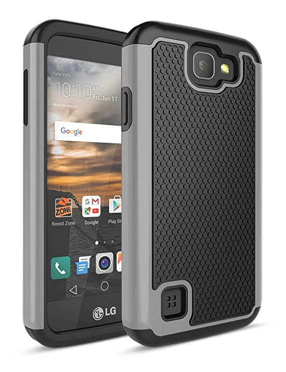 LG K3 Case, TILL [Shock Absorption] Drop Protection Dual Layer Hybrid  Rubber Plastic Impact Defender Rugged Slim Hard Case Cover For LG K3 Boost