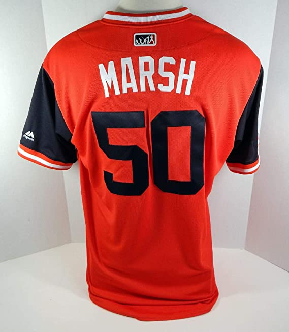 Amazon.com: 2018 Cleveland Indians Evan Marshall #50 Game ...