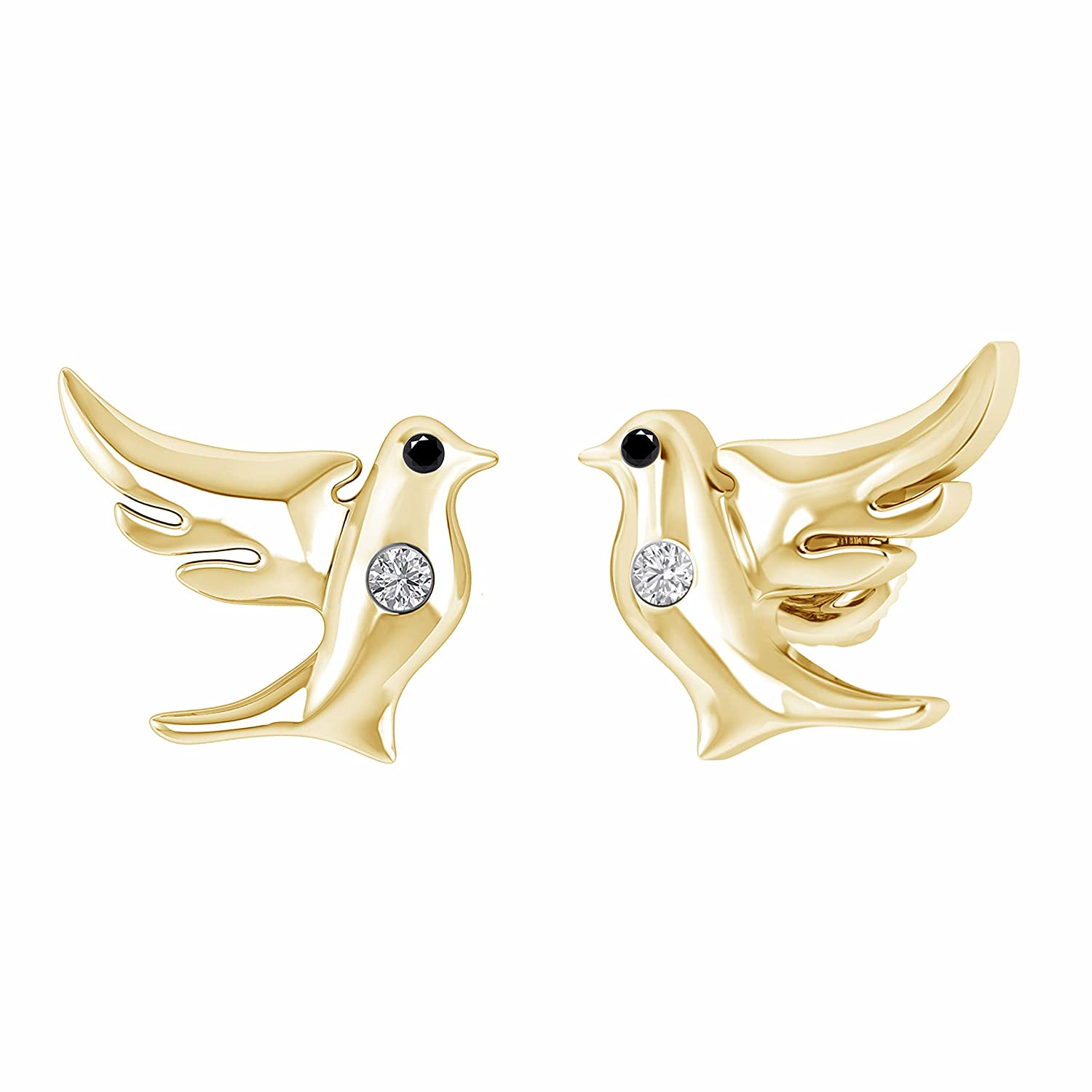 0.05 Ct Black /& White Diamond Flying Dove Stud Earrings in 14K Yellow Gold Fn 925 Sterling Silver