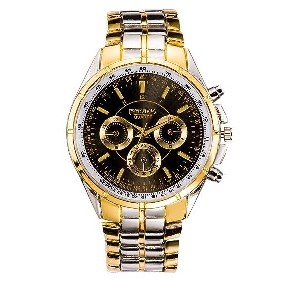 El mundo de la moda de los hombres de la banda de acero inoxidable de cuarzo reloj de pulsera de color negro: Amazon.es: Relojes