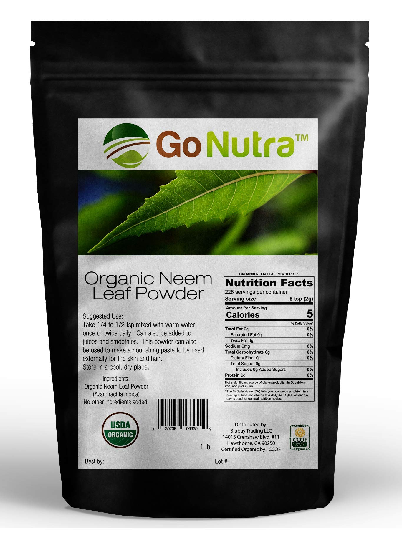 Amazing India Neem | Organic India Neem | Neem Powder 5 lb | Neem Powder for Hair Face Skin Teeth | Azadirachta Indica