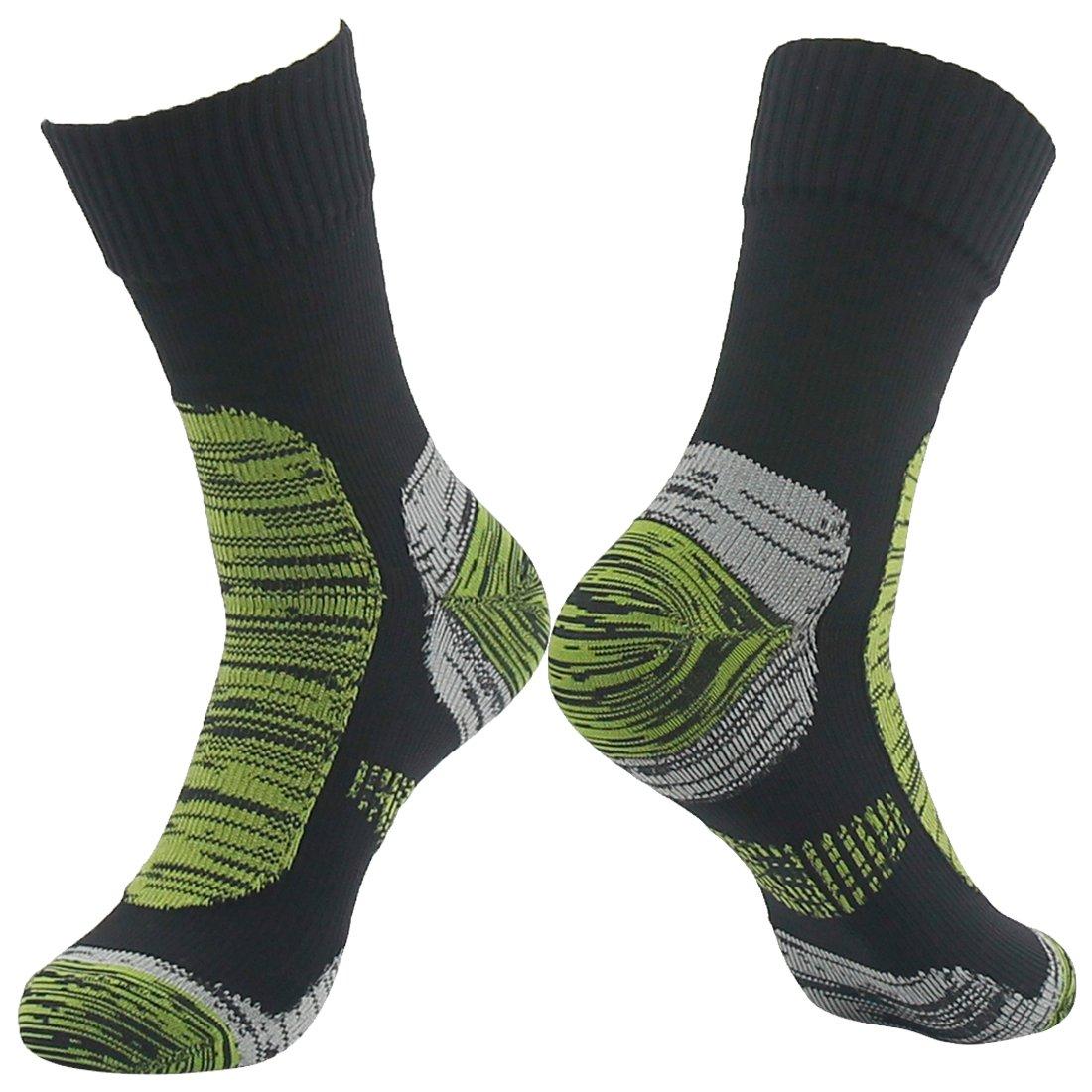 RANDY SUN Men's Comfortable Warm and Dry Crew Waterproof Socks Black&Grass Green Large
