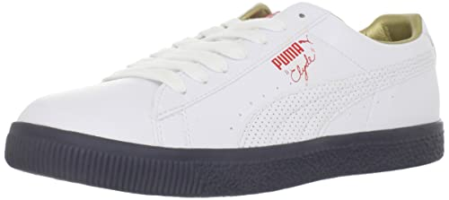 various colors 6d382 ea73b Amazon.com | PUMA Clyde Leather Olympics-U, White/High Risk ...