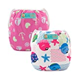 ALVABABY Swim Diapers 2pcs One Size Reusable