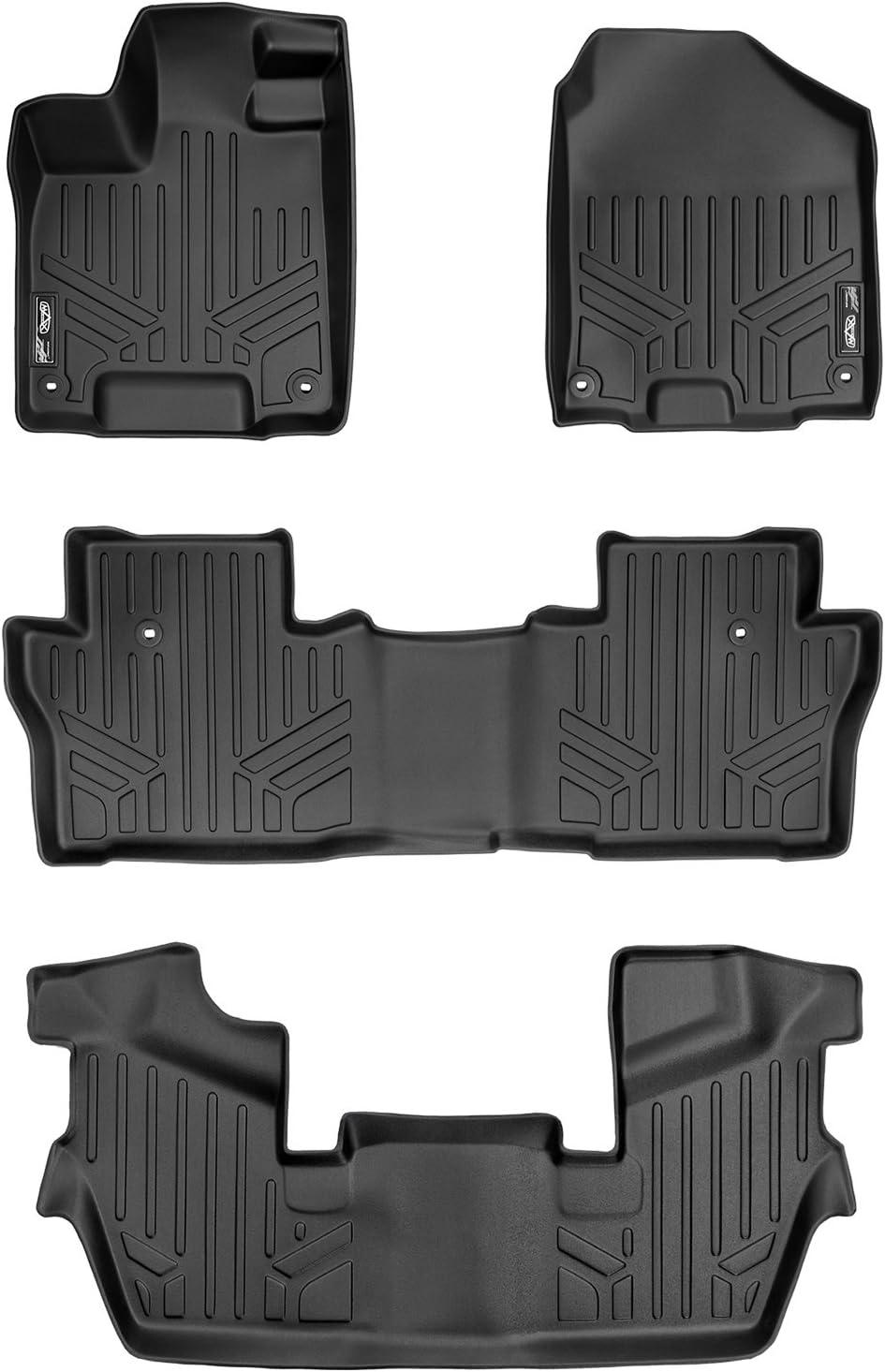 3 Row MAXFLOORMAT All Weather Custom Fit Floor Mats Liner Set for Pilot Black