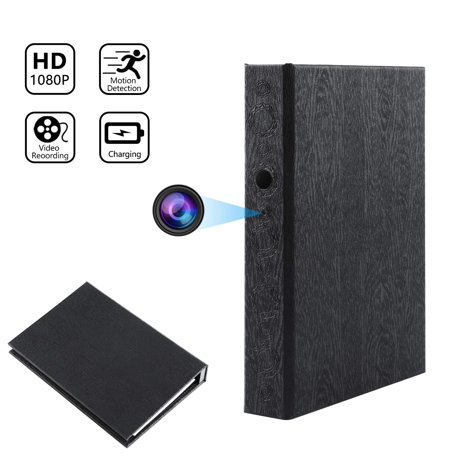 Hidden Camera Book Spy Camera HD 1080P Covert Nanny Cam Video Recorder for Home Security 10000mAh Battery Powered by SPOOKER