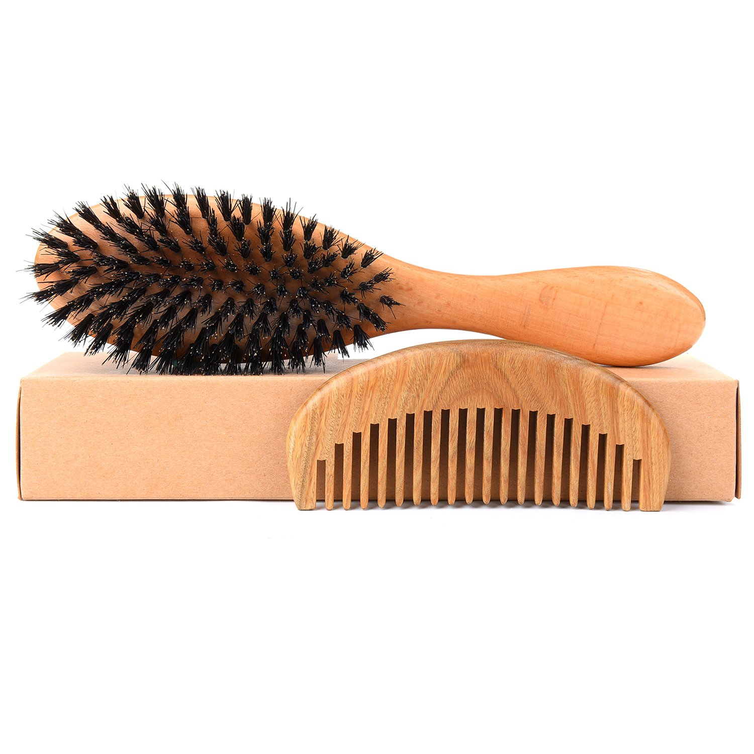 Boar Bristle Hair Brush, Natural Bamboo Wooden Handle Paddle Hairbrush, Makes Hair Shiny and Silky detangling Large Round Boar Hair Comb, for Men Women and Kid with Great Gift bag Yooluan