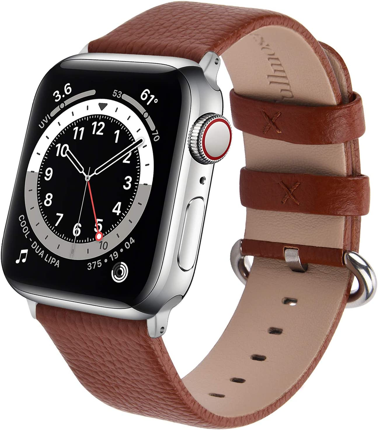 Fullmosa Classic Litchi Leather Watch Band for Series 6/SE/5/4/3/2/1, 12 Colors iWatch Band Women Men with Silver Buckle 38mm,Brown