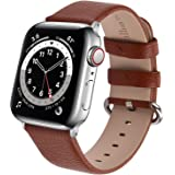 Fullmosa Leather Watch band Compatible for Apple Watch Band 38mm 40mm 42mm 44mm Stainless Steel Silver Buckle Women Men, Repl