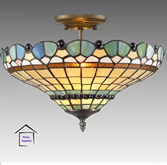 Peacock Tiffany Semi Flush Ceiling Light Amazoncouk Lighting