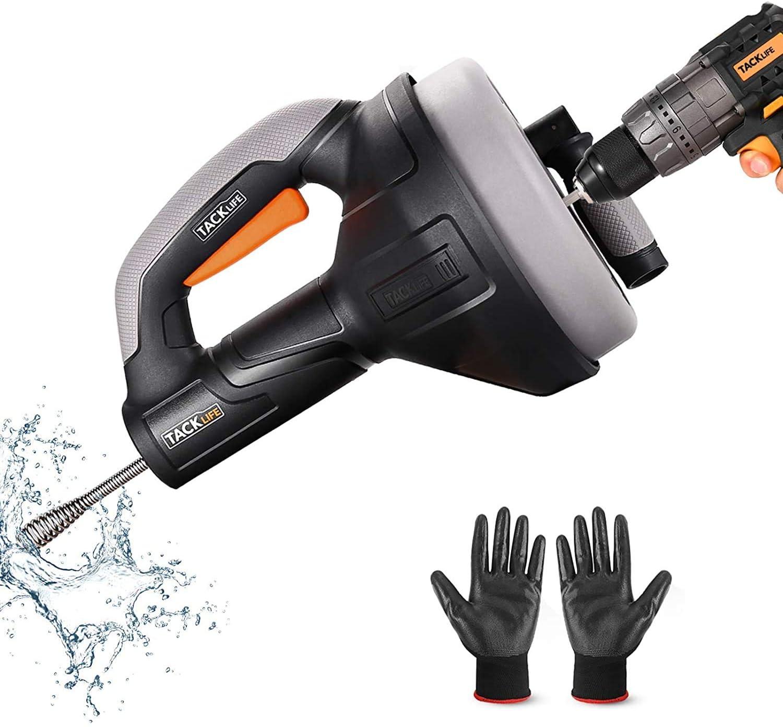 Desatascador de Desagües, TACKLIFE 7,5m Limpieza de desagües, Diámetro de 7mm adecuado para tubos de 19-51mm, ideal herramienta Limpieza para eliminar obstrucciones en desagües - HGD02A