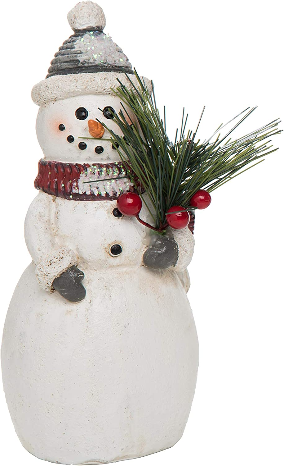 Transpac Imports Small Resin Traditional Snowman Figurines, White