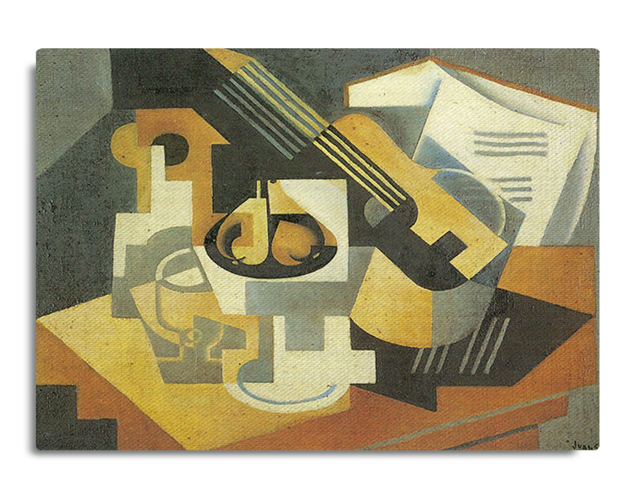 Amazon.com: Guitar And Fruit Bowl #1 (Juan Gris) Streched Canvas ...