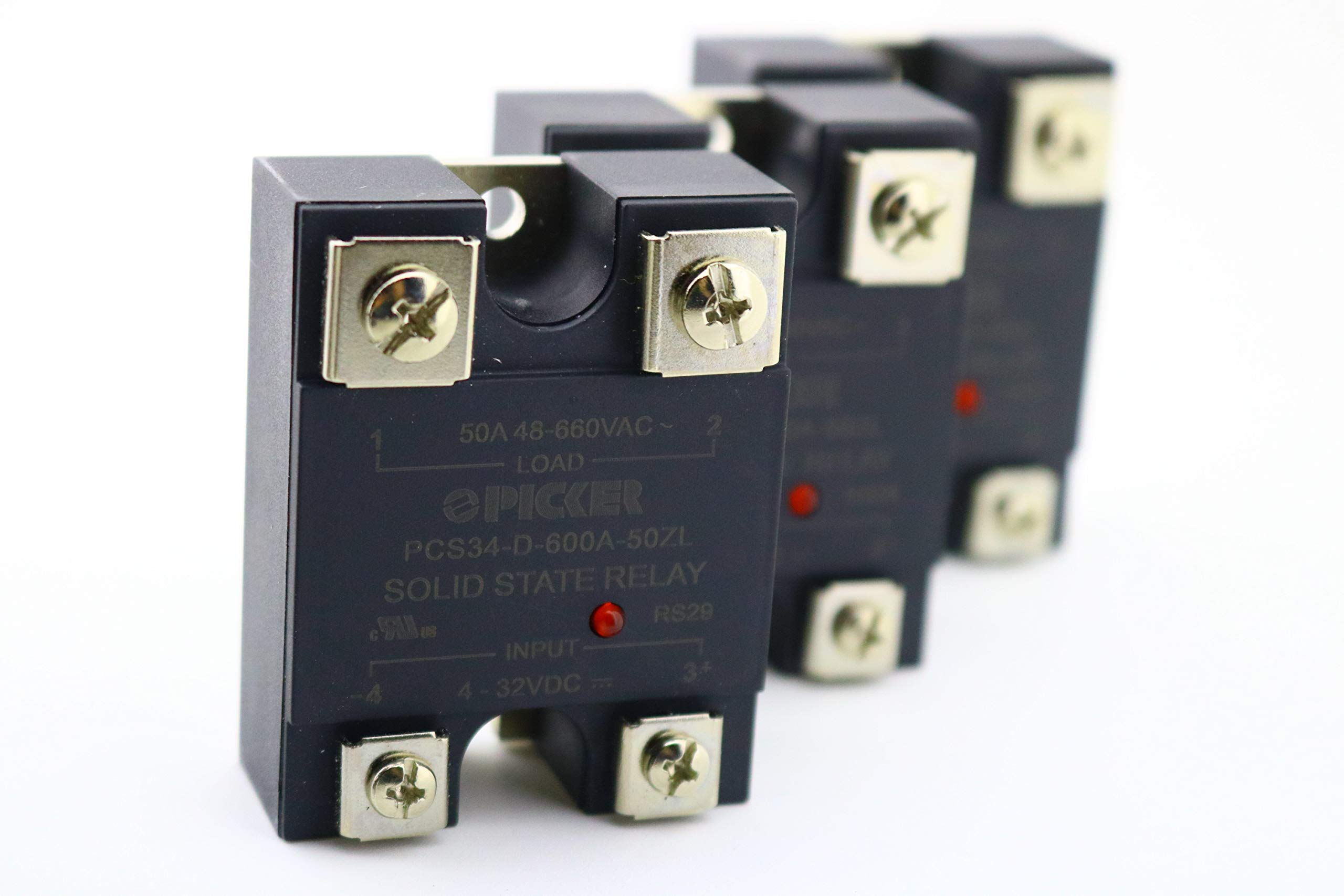 (x3) PCS34-D-600A-50ZL-3 | 50 Amp, 48-660 VAC Zero Crossing | UL Rated | 4-32 VDC Input | Hockey Puck Solid State Relay with LED by PICKER