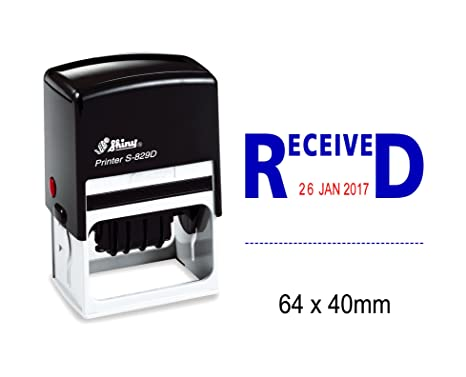 Shiny Date Stamp Self Inking With Received Text Ofiice Stationery Rubber Stamper S 829D