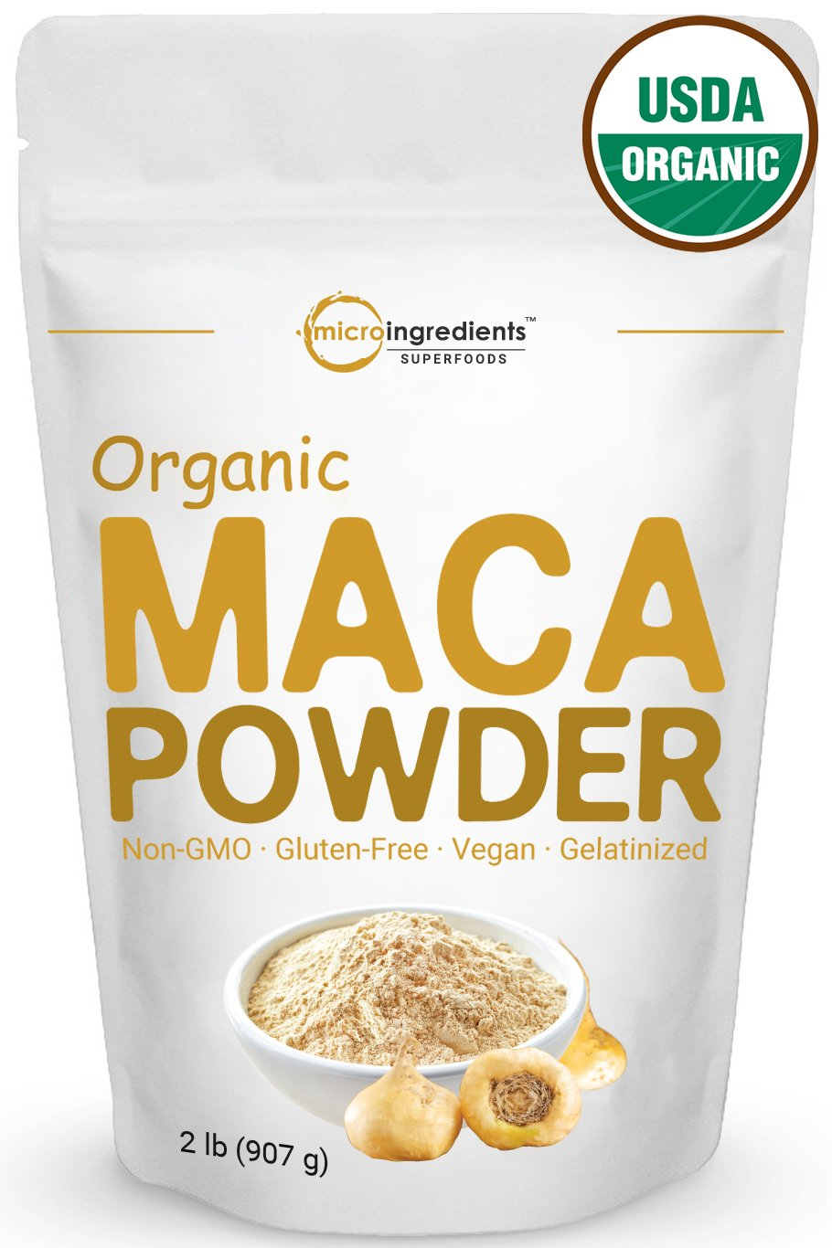 Peruvian Organic Maca Powder, 32 Ounce, Gelatinized for Powerful Bio-Availability, Libido and Energy Booster. Non-Irradiated, Non-Contaminated, Non-GMO and Vegan Friendly.