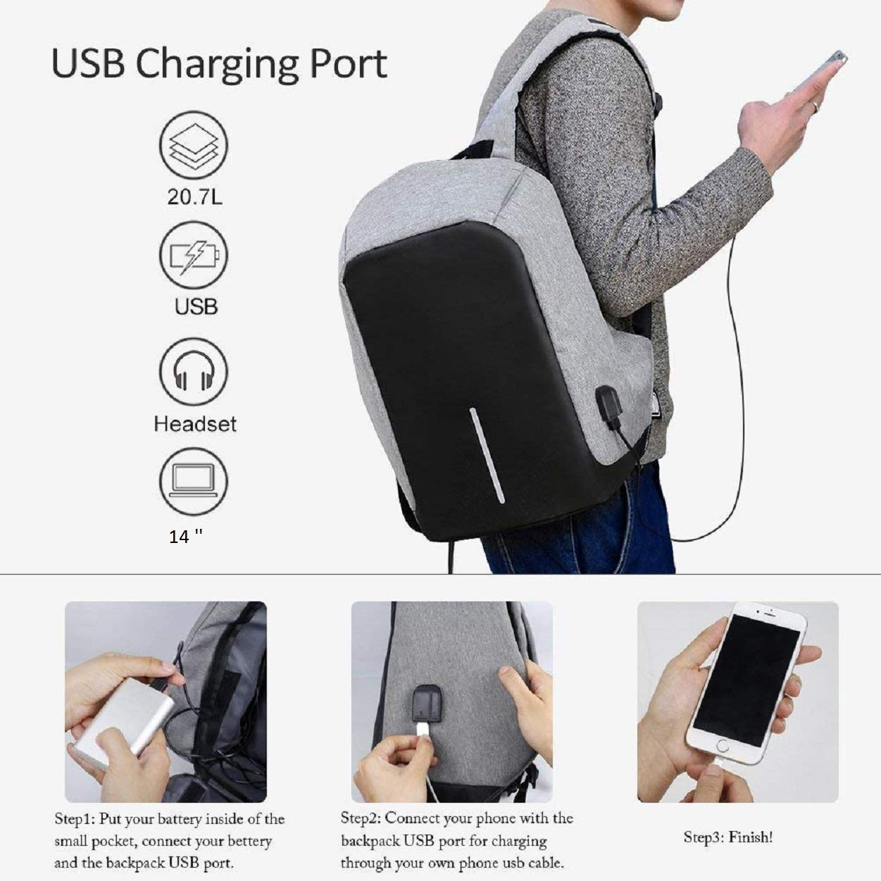 Gadgetbucket Oxford UnTech Anti-Theft Laptop Backpack with USB Charging  Headphone Port Fit 14 Inch Water Resistant with a Hidden and Interlayered  Zipper  ... e5a20fee2bab7