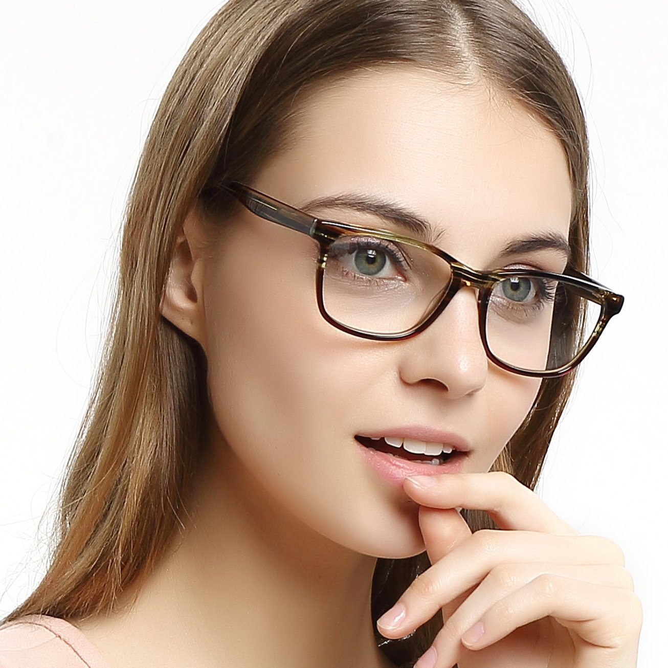 70734944e45 OCCI CHIARI Womens Fashion Non-Prescription Acetate Eyewear Frames with Clear  Lens BRONZI C2