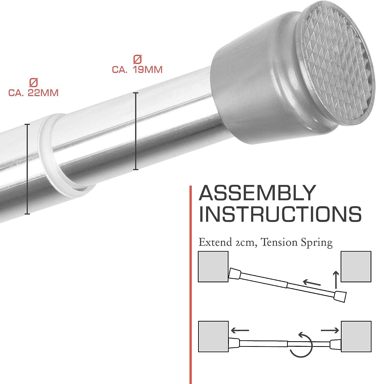 bomoe Barra para Cortina de Ducha Regulable Neptun tambi/én Barra de Ropa Aluminio 70-120 cm Barra telesc/ópica Sin taladrar