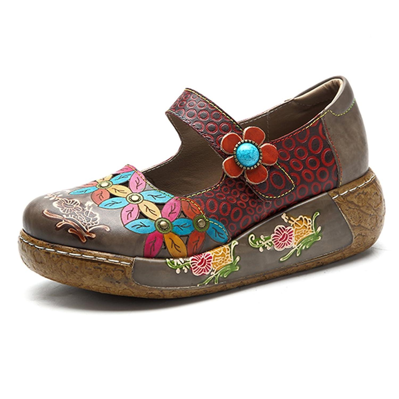 Socofy Damen Pantoletten, Sandalen Slip-Ons Sommer Leder Pantoffel Vintage  Slipper Clogs High-