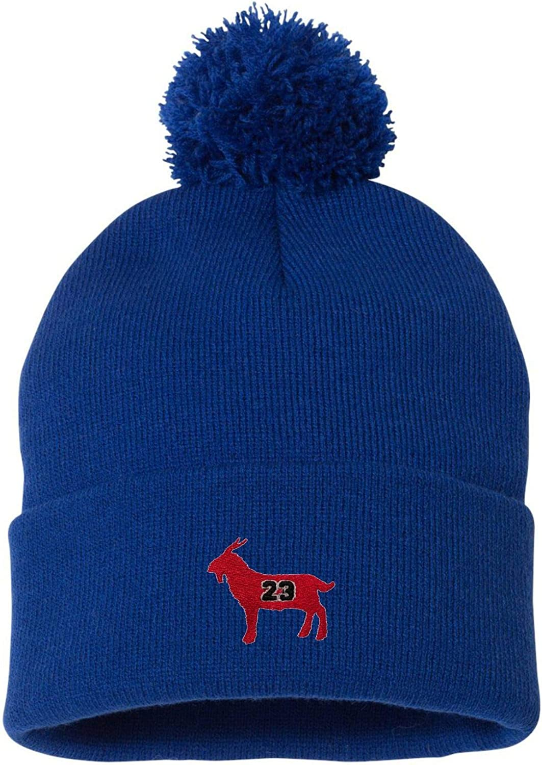Jordan #23 Goat Greatest of All Time Embroidered Knit Beanie Pom Cap Adult G.O.A.T