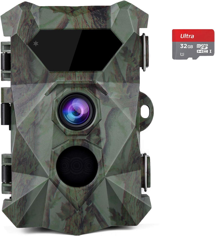 COOLIFE Cámaras de Caza 2.7K 20MP HD Fototrampeo Distancia de Disparo de hasta 35 m Velocidad de Disparo 0.1s Cámara de Caza Nocturna 46 pcs IR Leds Admite hasta 512G