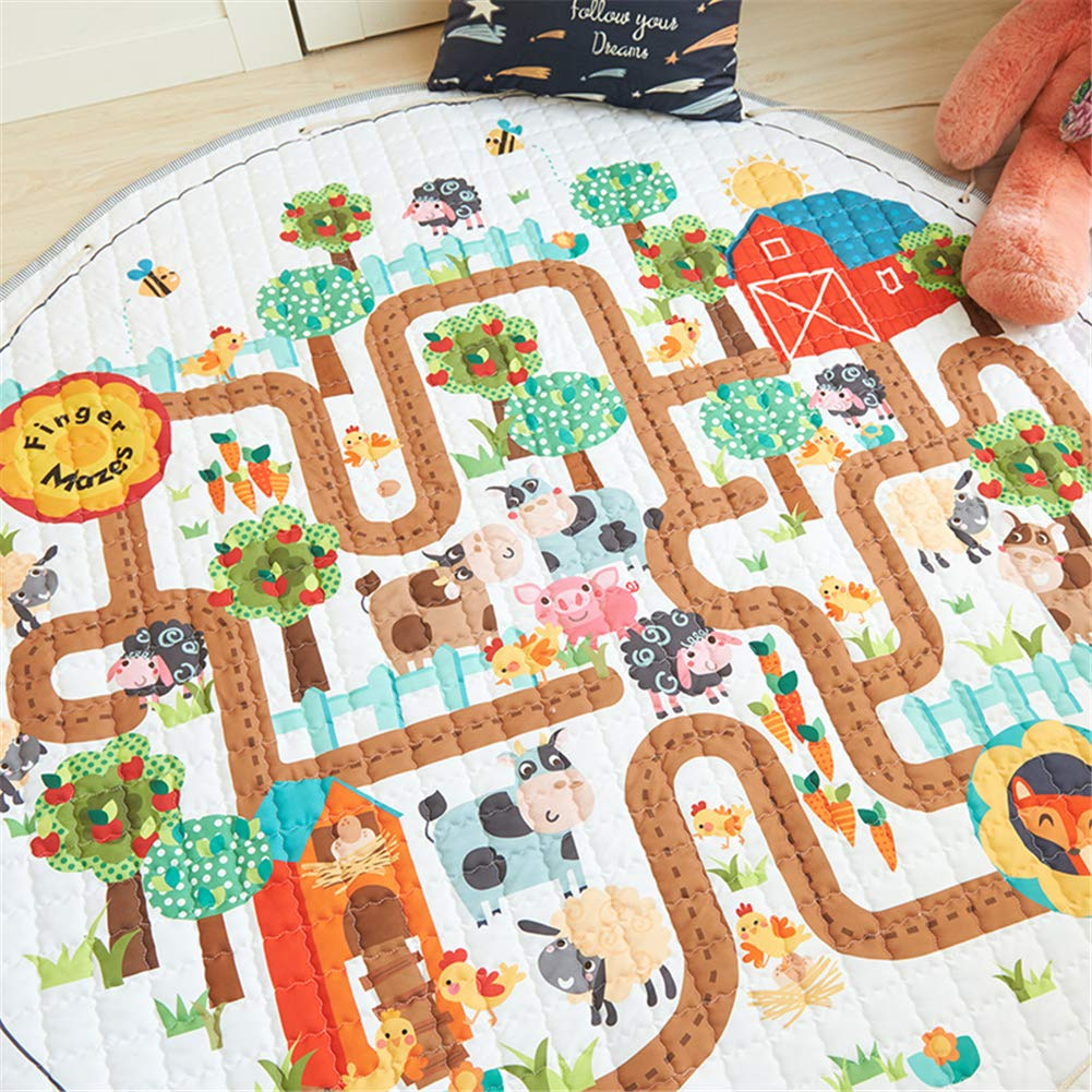 LISIBOOO Cartoon Kids Play Rugs,Toys Storage Organizer Cotton Large Floor Mat,for Baby Girl Boy Bedroom Living Room Nursery Children Crawling Blanket,5 Feet Round Carpet (Animal Maze) by LISIBOOO