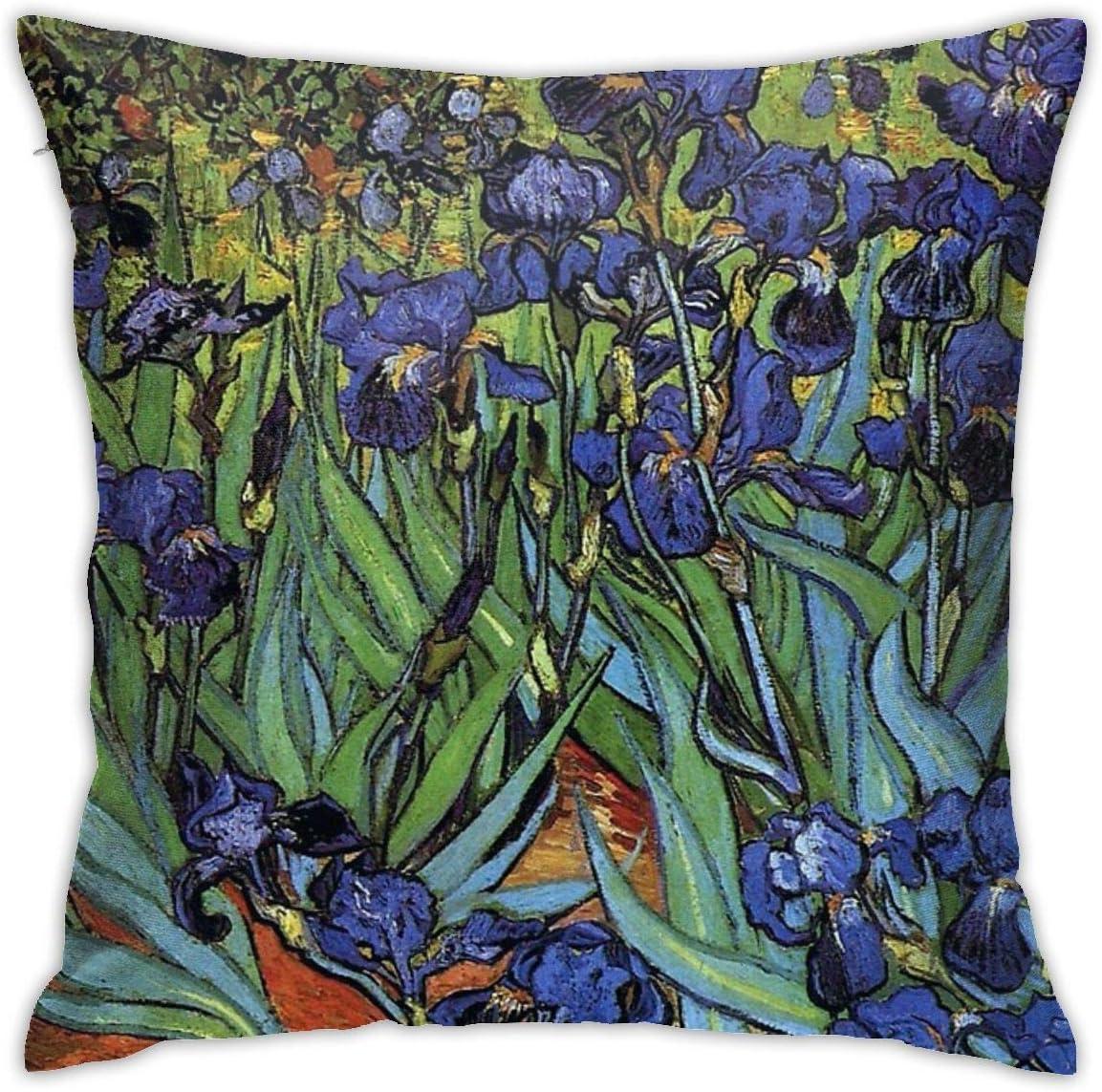 NYF Home Decor Van Gogh Irises Purple Fine Art Square Throw Pillow Cushion Covers Pillow Case, Soft Decorative Pillowcase for Sofa Chair