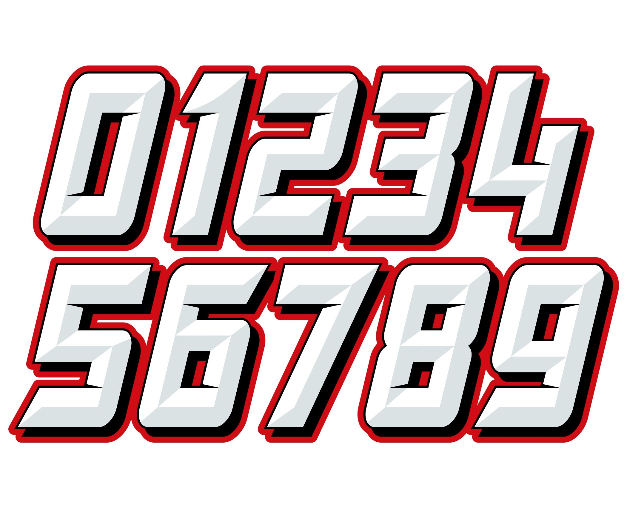 MX & ATV Number Plate Decals | Set of 3 Multicolored Race Numbers | You Pick Your Number & Color | MxNumbers Chiseled Design