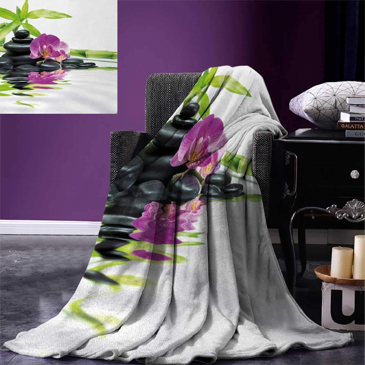 smallbeefly Spa Digital Printing Blanket Asian Relaxation Ways Zen Massage Stones Purple Orchid a Bamboo Summer Quilt Comforter 80''x60'' Purple Black Green