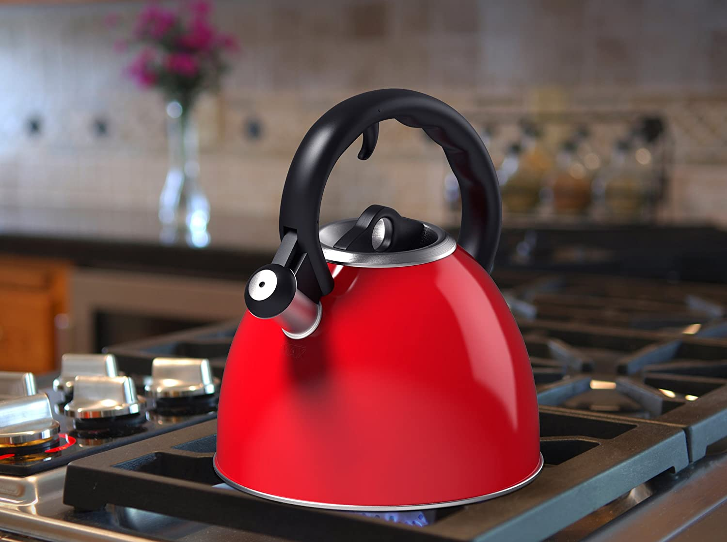 Vremi Whistling Red Tea Kettle - 2 Quart Tea Pot Stainless Steel Tea Kettle for Electric or Gas Stovetop - Cool Cute Modern Tea Kettle Stovetop Teapot Hot Water Whistle